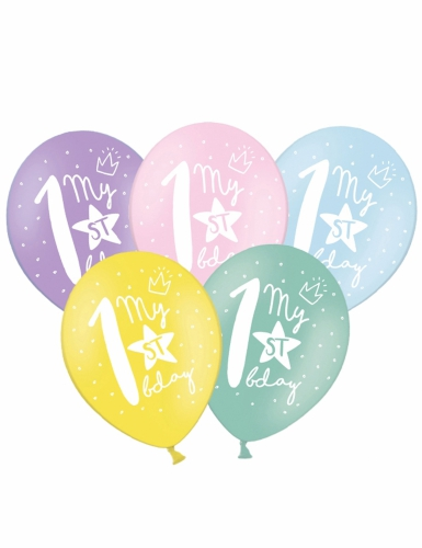 6 palloncini colorati My 1st birthday