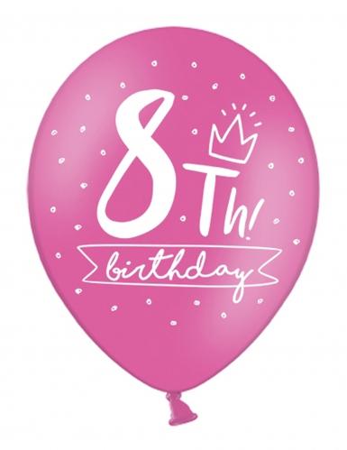 6 palloncini colorati My 8th birthday-1