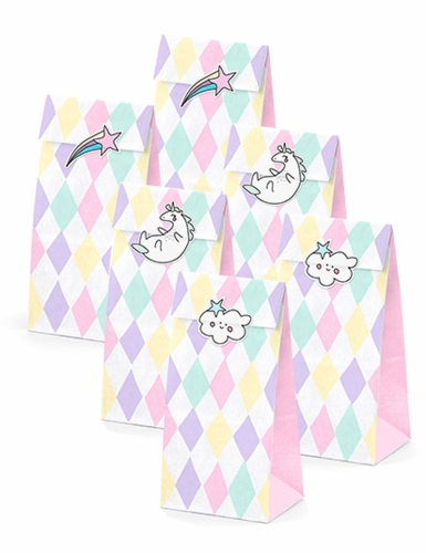 6 sacchetti rombi pastello e unicorno con adesivi-1