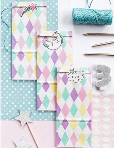 6 sacchetti rombi pastello e unicorno con adesivi-2