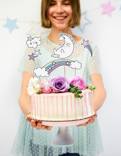 5 decorazioni per torta unicorno e arcobaleno-1