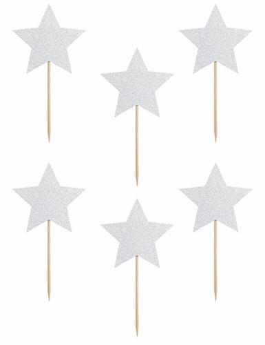 6 decorazioni per torta stelle argento con brillantini-1