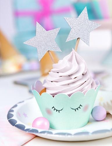 6 decorazioni per torta stelle argento con brillantini-2
