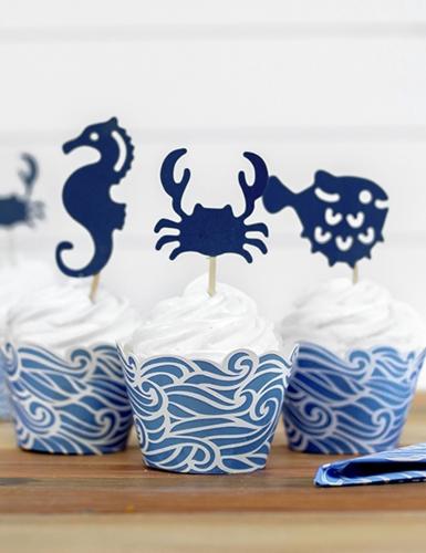 6 decorazioni per dolci animali marini blu-2