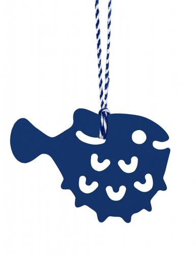 6 etichette blu a forma di pesci
