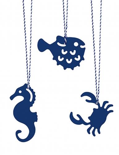 6 etichette blu a forma di pesci-1