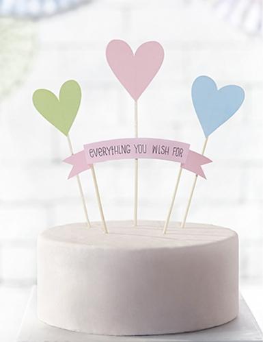 4 decorazioni per dolci Everything you wish e cuori pastello-1