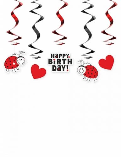 5 sospensioni a spirale Happy Birthday con coccinella
