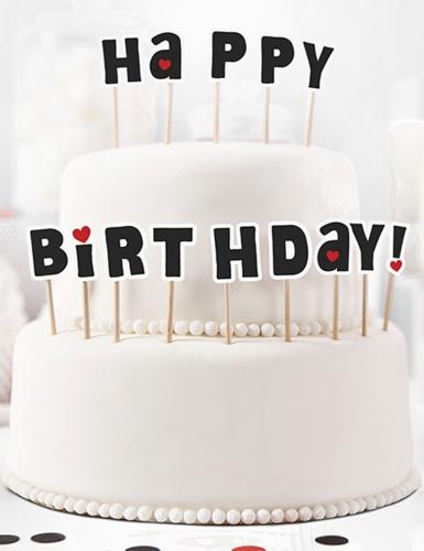 14 decorazioni per torta su stecchino Happy Birthday-1