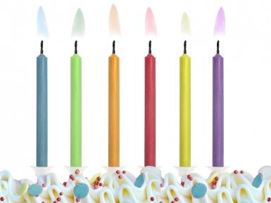 6 candeline multicolor con fiamma colorata-1