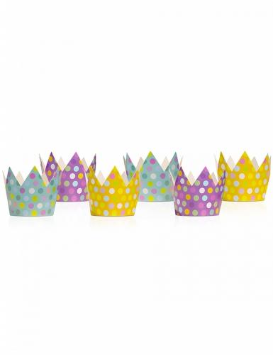 6 mini corone multicolor a pois