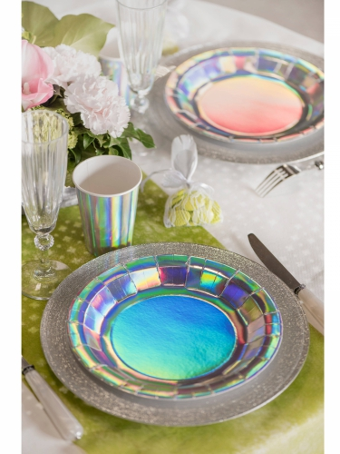 10 piatti in cartone iridescenti 23 cm-1