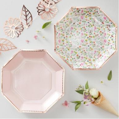 8 piatti ottagonali di carta oro rosa floreali 23 cm-1