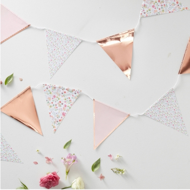 Ghirlanda di bandierine oro rosa floreale-1
