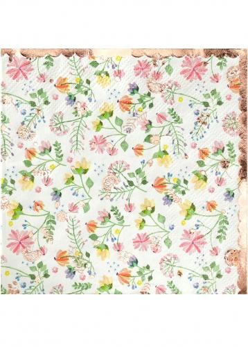 16 tovagliolini di carta oro rosa floreale