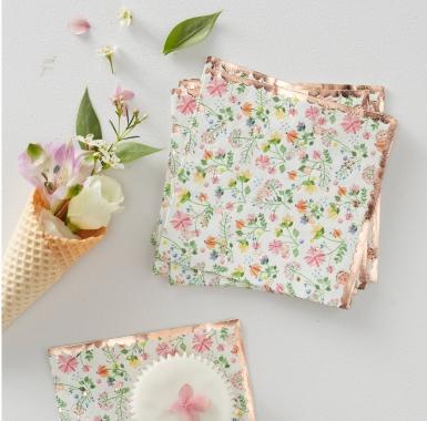 16 tovagliolini di carta oro rosa floreale-1