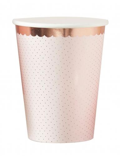 8 bicchieri in cartone oro rosa floreale