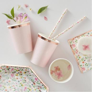 8 bicchieri in cartone oro rosa floreale-1