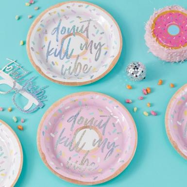 8 piatti in cartone Donut kill my vibe 25 cm-1