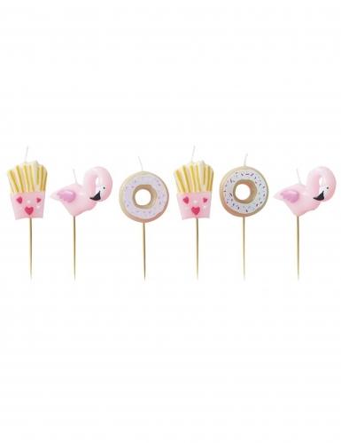 6 candeline a forma di donut patatine e fenicotteri
