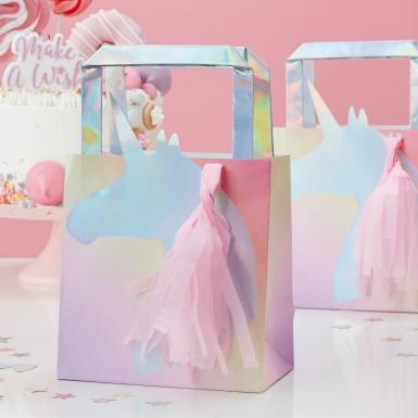 5 sacchetti regalo unicorno iridescente con pon pon-1