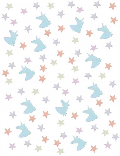 Coriandoli da tavola unicorni e stelle color pastello-1