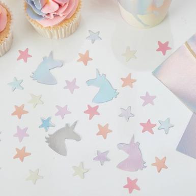 Coriandoli da tavola unicorni e stelle color pastello-2