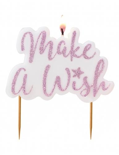 """Candelian compleanno Make a Wish """" con brillantini viola"""""""