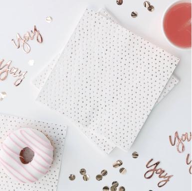 16 tovagliolini di carta pois oro rosa-1