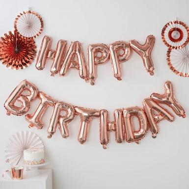 Palloncino con lettere Happy Birthday oro rosa-1