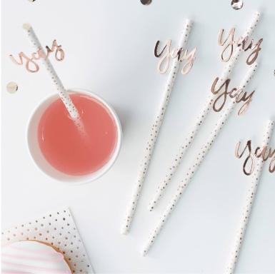 16 cannucce in cartone yay bianche con pois oro rosa-1