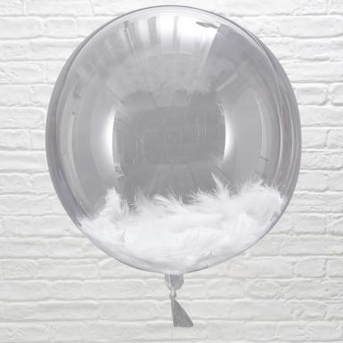 3 palloncini giganti con piume bianche-1