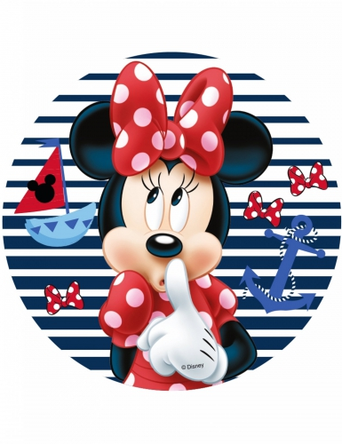 Disco di ostia Minnie™ a righe 21 cm