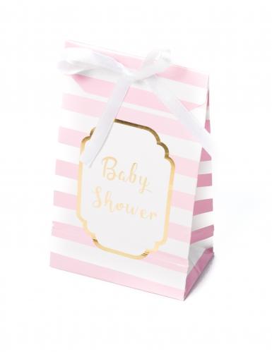 10 sacchetti regalo rosa e bianchi baby shower