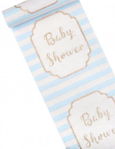Runner da tavola in lino Baby Shower blu