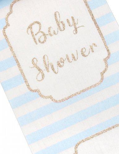 Runner da tavola in lino Baby Shower blu-1