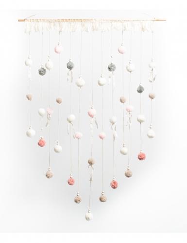 Arazzo con pon pon bianchi rosa e grigi