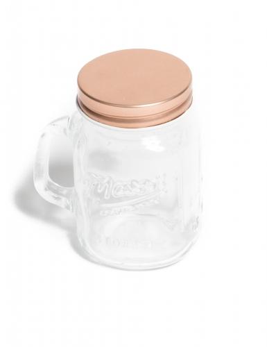 Mason jar in vetro con coperchio oro rosa