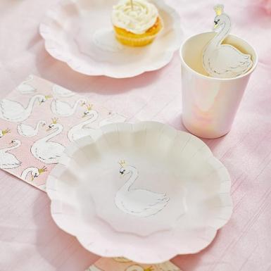 12 piattini in cartone rosa con cigno 17 cm-1