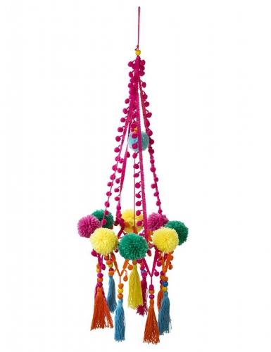 Decorazione con pompom multicolore 60 cm