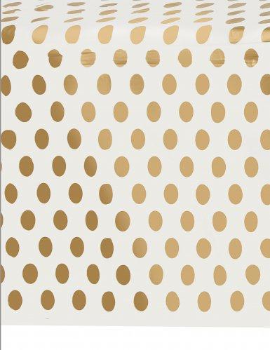 Tovaglia di plastica bianca a pois dorati-1