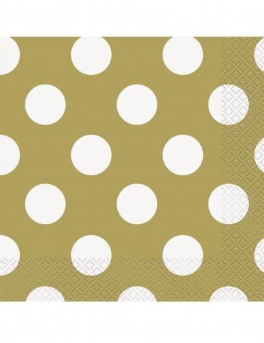 16 tovaglioli in carta dorati con pois bianchi