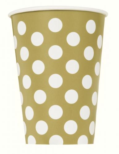 6 bicchieri in cartone dorati a pois bianchi