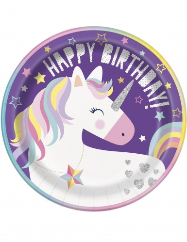8 piatti in cartone Happy Birthday party unicorno 23 cm