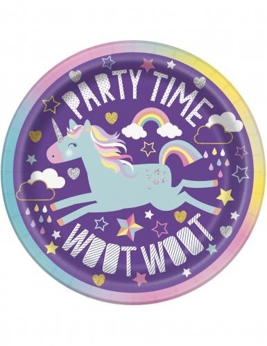8 piattini in cartone party unicorno 18 cm
