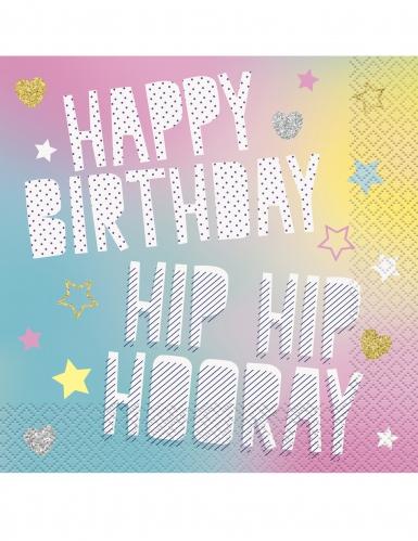 16 tovaglioli di carta Happy Birthday unicorno