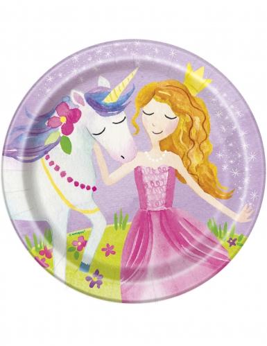 8 piattini in cartone principessa magica 18 cm