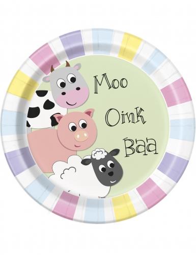 8 piatti di cartone animali della fattoria 23 cm