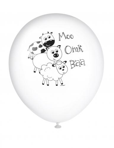 8 palloncini colorati gli animali della fattoria-2