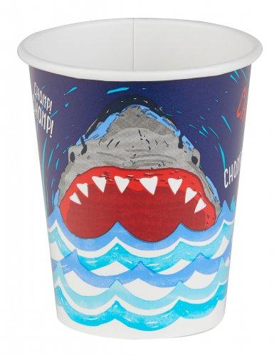 8 bicchieri in cartone squalo